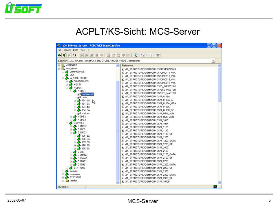 2002-05-07 MCS-Server 6 ACPLT/KS-Sicht: MCS-Server