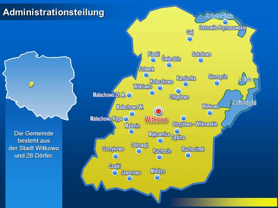 Administrationsteilung Die Gemeinde besteht aus der Stadt Witkowo und 26 Dörfer.