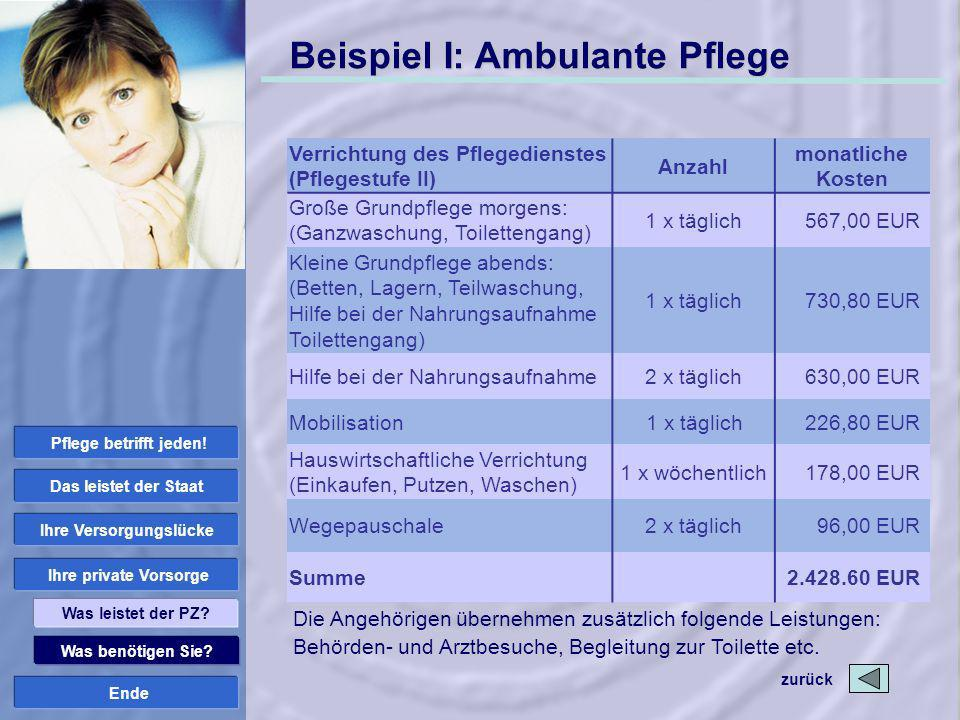Ende Beispiel I: Ambulante Pflege zurück Was benötigen Sie? Ihre private Vorsorge Ihre Versorgungslücke Das leistet der Staat Was leistet der PZ? Pfle