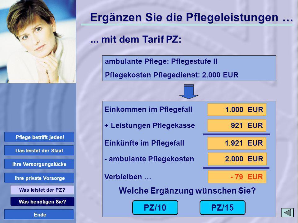 Ende 1.000 EUR 1.921 EUR 921 EUR 2.000 EUR - 79 EUR PZ/10 Welche Ergänzung wünschen Sie? PZ/15 Einkommen im Pflegefall + Leistungen Pflegekasse Einkün