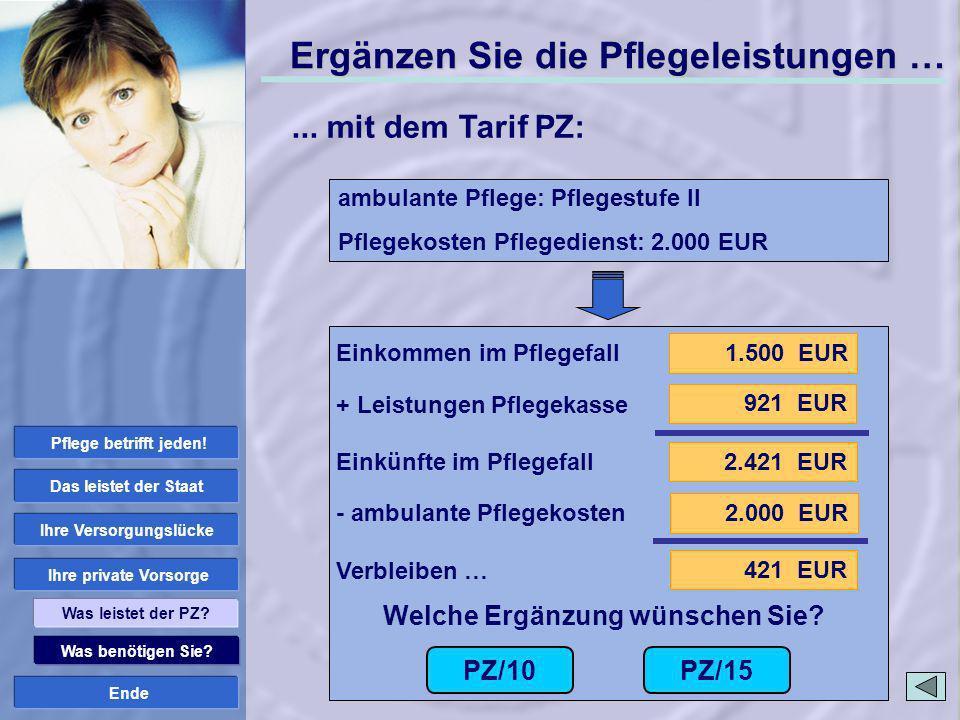 Ende 1.500 EUR 2.421 EUR 921 EUR 2.000 EUR 421 EUR PZ/10 Welche Ergänzung wünschen Sie? PZ/15 Was benötigen Sie? Ihre private Vorsorge Ihre Versorgung