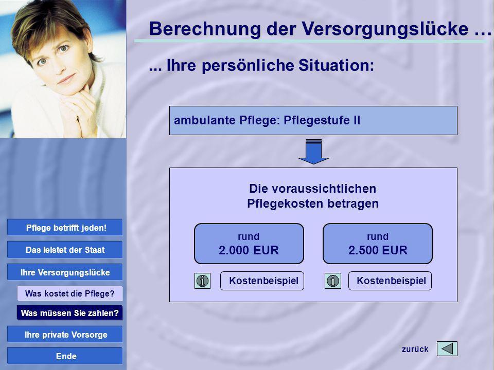 Ende rund 2.000 EUR Die voraussichtlichen Pflegekosten betragen rund 2.500 EUR ambulante Pflege: Pflegestufe II Was müssen Sie zahlen? Ihre private Vo