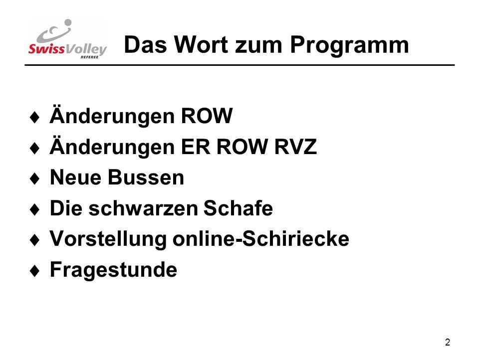 2 Das Wort zum Programm Änderungen ROW Änderungen ER ROW RVZ Neue Bussen Die schwarzen Schafe Vorstellung online-Schiriecke Fragestunde