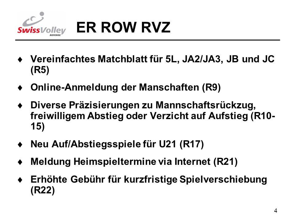 4 ER ROW RVZ Vereinfachtes Matchblatt für 5L, JA2/JA3, JB und JC (R5) Online-Anmeldung der Manschaften (R9) Diverse Präzisierungen zu Mannschaftsrückzug, freiwilligem Abstieg oder Verzicht auf Aufstieg (R10- 15) Neu Auf/Abstiegsspiele für U21 (R17) Meldung Heimspieltermine via Internet (R21) Erhöhte Gebühr für kurzfristige Spielverschiebung (R22)