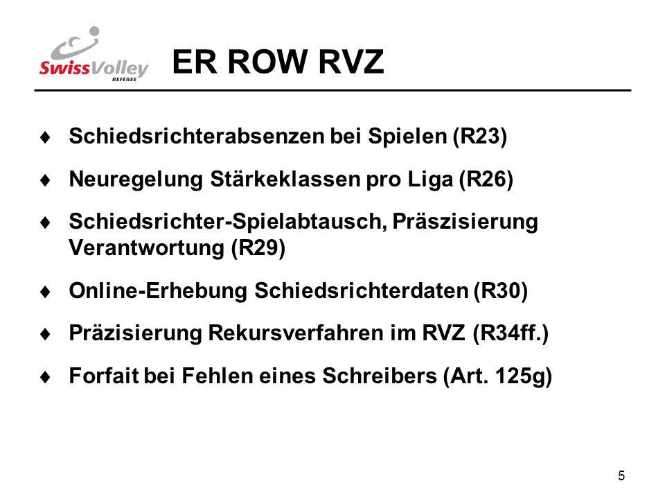 5 ER ROW RVZ Schiedsrichterabsenzen bei Spielen (R23) Neuregelung Stärkeklassen pro Liga (R26) Schiedsrichter-Spielabtausch, Präszisierung Verantwortung (R29) Online-Erhebung Schiedsrichterdaten (R30) Präzisierung Rekursverfahren im RVZ (R34ff.) Forfait bei Fehlen eines Schreibers (Art.