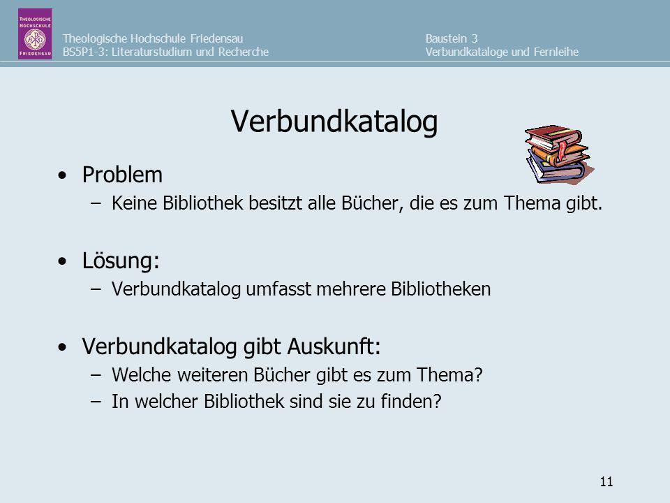 Theologische Hochschule Friedensau BS5P1-3: Literaturstudium und Recherche Baustein 3 Verbundkataloge und Fernleihe 11 Verbundkatalog Problem –Keine B