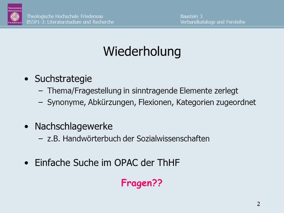 Theologische Hochschule Friedensau BS5P1-3: Literaturstudium und Recherche Baustein 3 Verbundkataloge und Fernleihe 2 Wiederholung Suchstrategie –T–Th