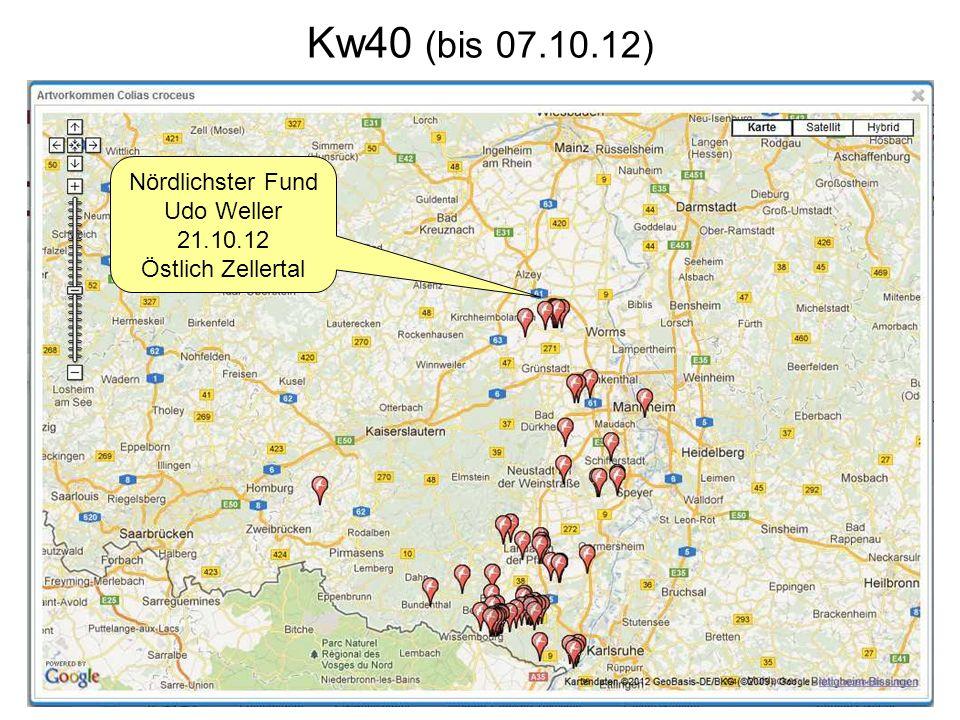 Kw40 (bis 07.10.12) Nördlichster Fund Udo Weller 21.10.12 Östlich Zellertal