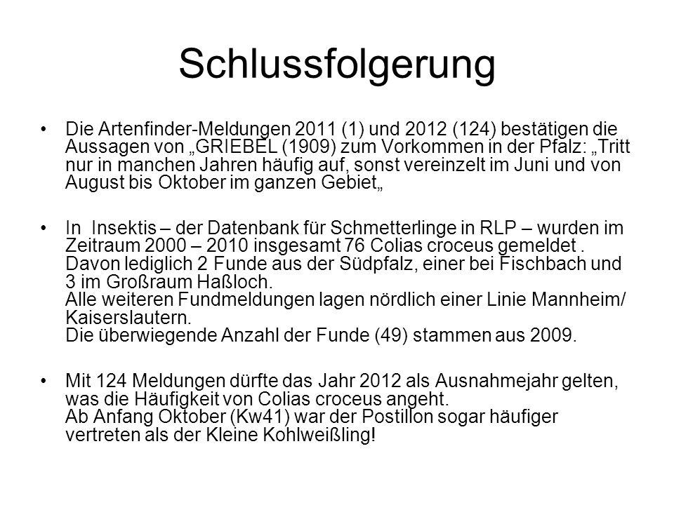 Schlussfolgerung Die Artenfinder-Meldungen 2011 (1) und 2012 (124) bestätigen die Aussagen von GRIEBEL (1909) zum Vorkommen in der Pfalz: Tritt nur in