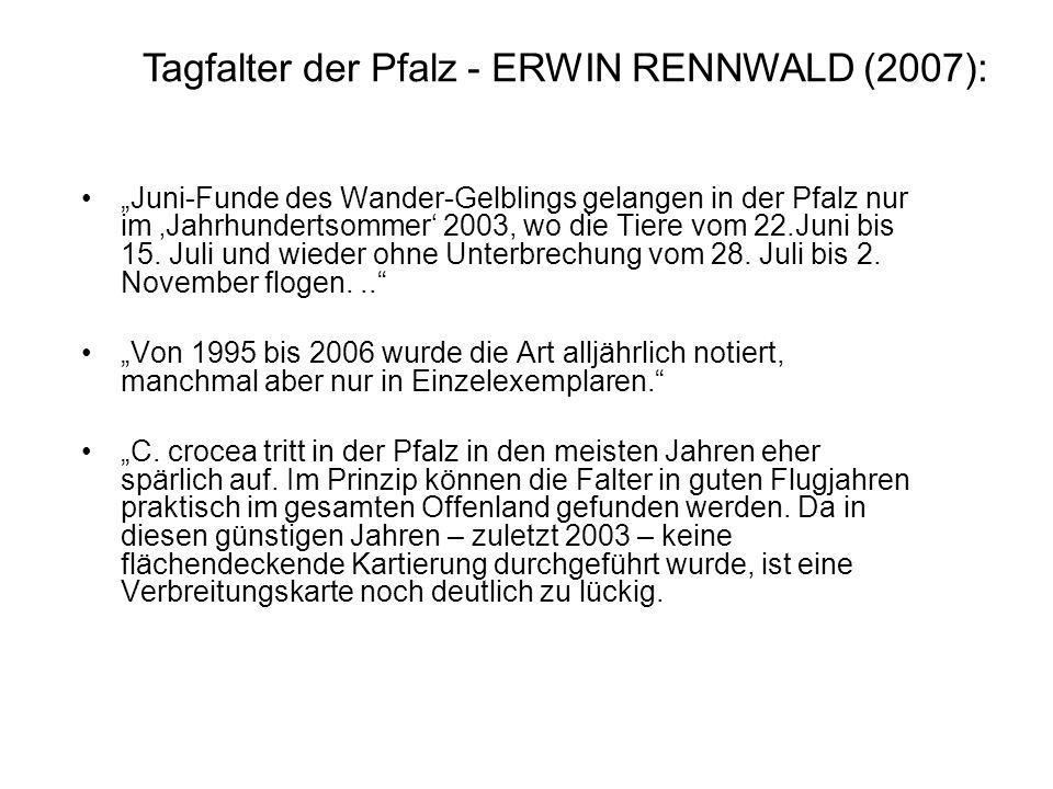 Juni-Funde des Wander-Gelblings gelangen in der Pfalz nur im Jahrhundertsommer 2003, wo die Tiere vom 22.Juni bis 15. Juli und wieder ohne Unterbrechu