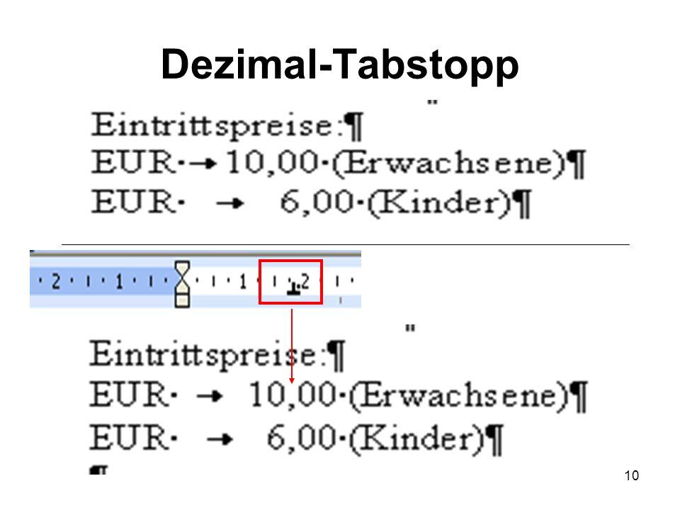 10 Dezimal-Tabstopp