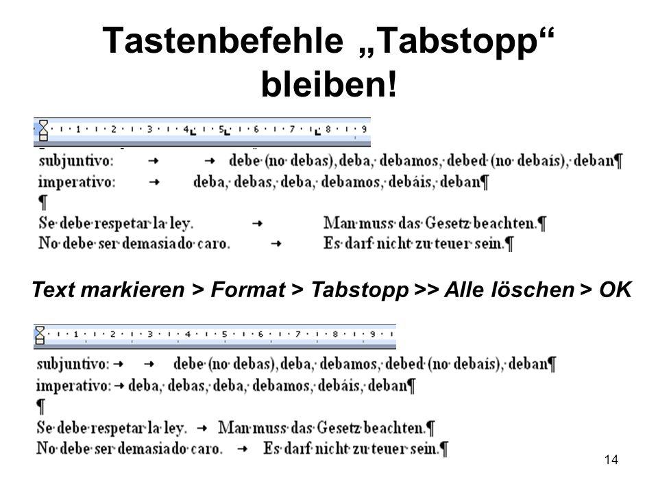 14 Tastenbefehle Tabstopp bleiben! Text markieren > Format > Tabstopp >> Alle löschen > OK