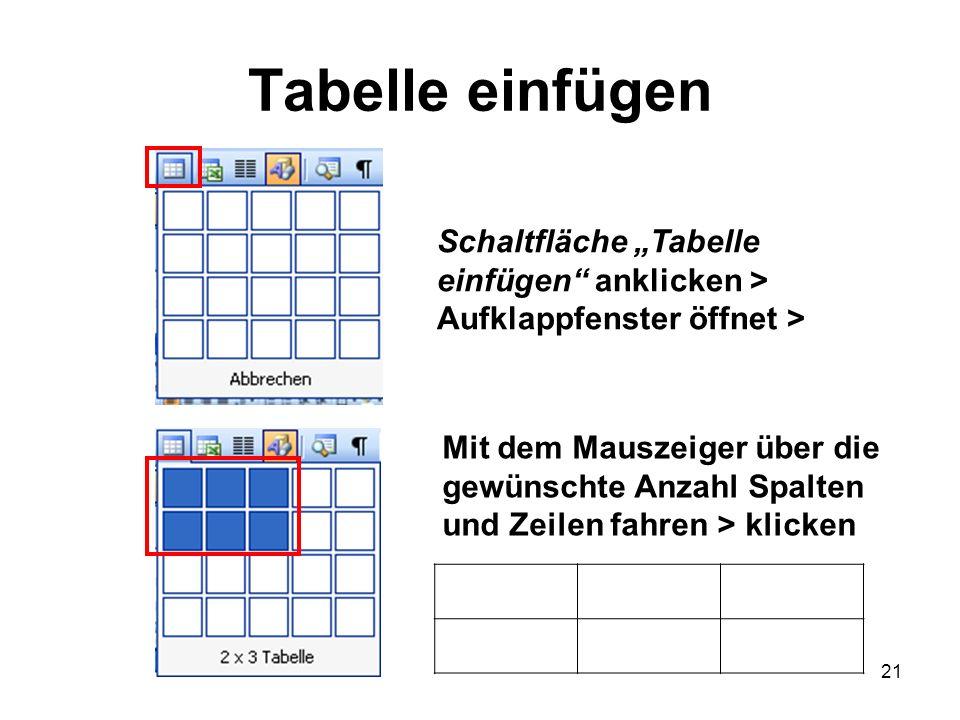 21 Tabelle einfügen Schaltfläche Tabelle einfügen anklicken > Aufklappfenster öffnet > Mit dem Mauszeiger über die gewünschte Anzahl Spalten und Zeile