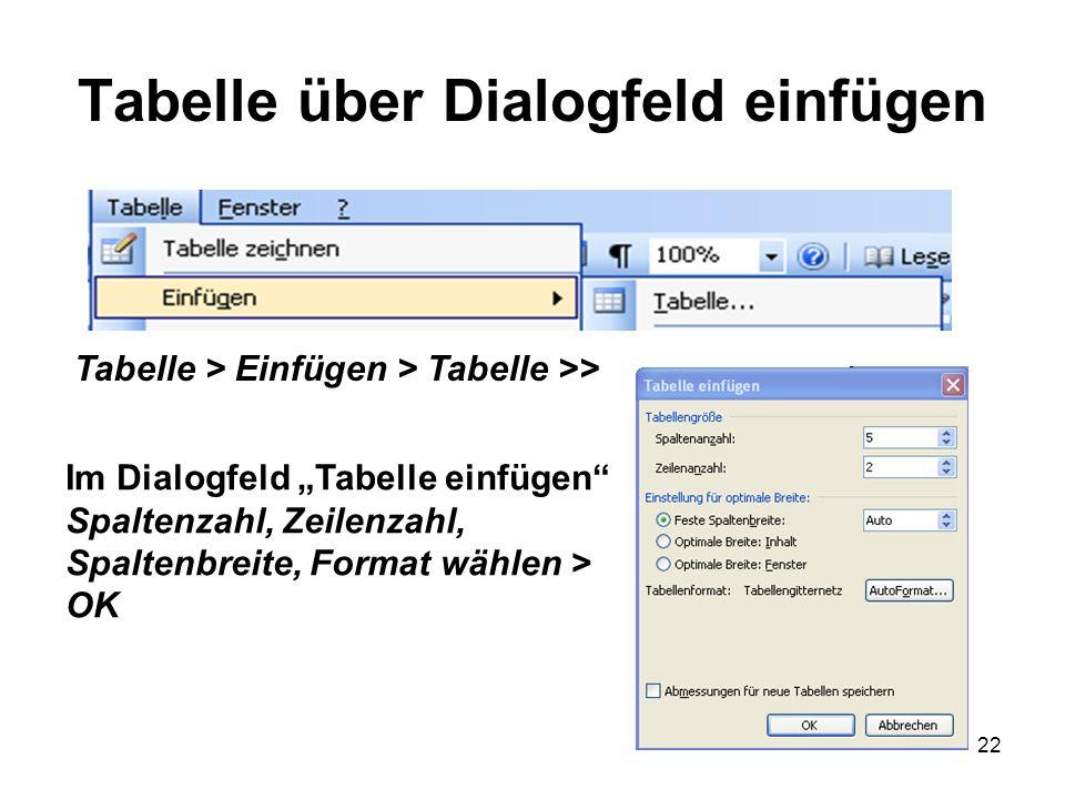 22 Tabelle über Dialogfeld einfügen Tabelle > Einfügen > Tabelle >> Im Dialogfeld Tabelle einfügen Spaltenzahl, Zeilenzahl, Spaltenbreite, Format wähl