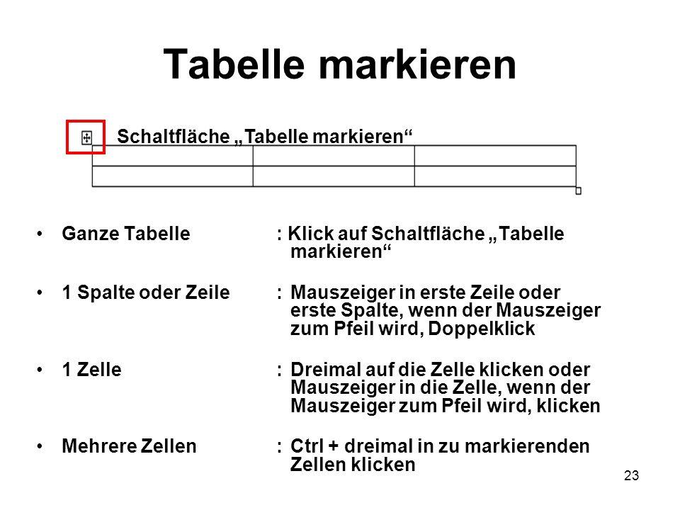 23 Tabelle markieren Ganze Tabelle: Klick auf Schaltfläche Tabelle markieren 1 Spalte oder Zeile:Mauszeiger in erste Zeile oder erste Spalte, wenn der
