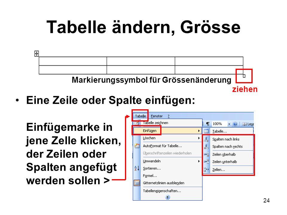 24 Tabelle ändern, Grösse Eine Zeile oder Spalte einfügen: Einfügemarke in jene Zelle klicken, der Zeilen oder Spalten angefügt werden sollen > Markie