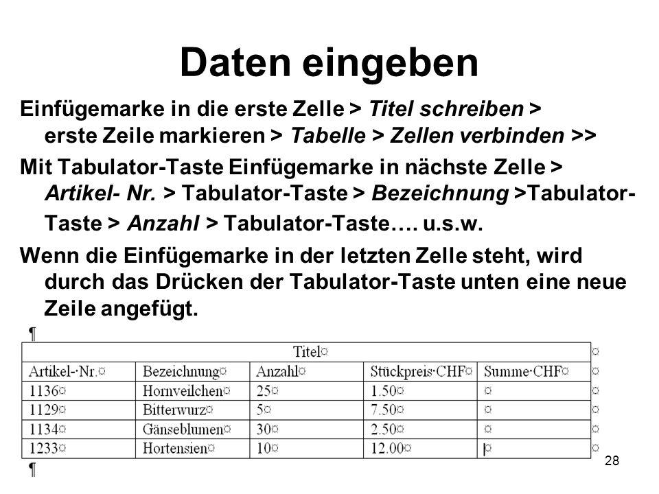 28 Daten eingeben Einfügemarke in die erste Zelle > Titel schreiben > erste Zeile markieren > Tabelle > Zellen verbinden >> Mit Tabulator-Taste Einfüg