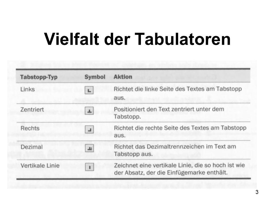 3 Vielfalt der Tabulatoren