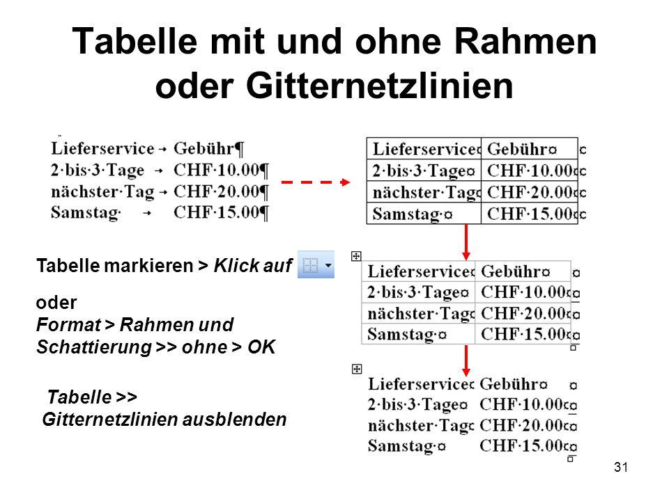 31 Tabelle mit und ohne Rahmen oder Gitternetzlinien oder Format > Rahmen und Schattierung >> ohne > OK Tabelle markieren > Klick auf Tabelle >> Gitte
