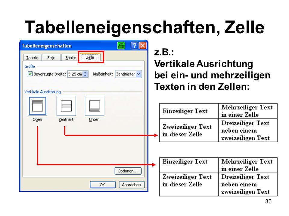 33 Tabelleneigenschaften, Zelle z.B.: Vertikale Ausrichtung bei ein- und mehrzeiligen Texten in den Zellen: