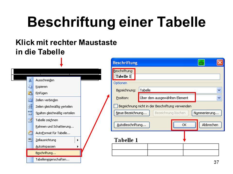 37 Beschriftung einer Tabelle Klick mit rechter Maustaste in die Tabelle