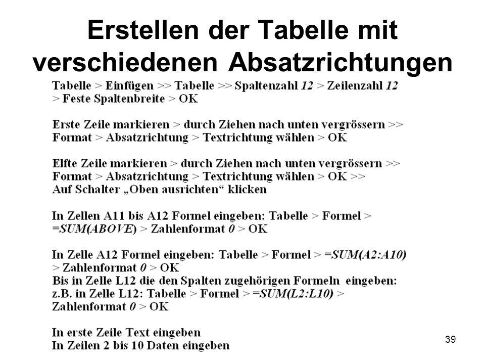 39 Erstellen der Tabelle mit verschiedenen Absatzrichtungen