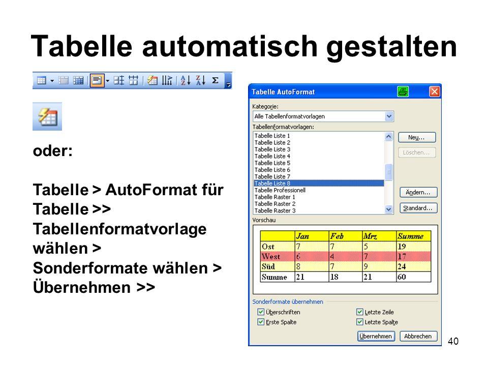 40 Tabelle automatisch gestalten oder: Tabelle > AutoFormat für Tabelle >> Tabellenformatvorlage wählen > Sonderformate wählen > Übernehmen >>