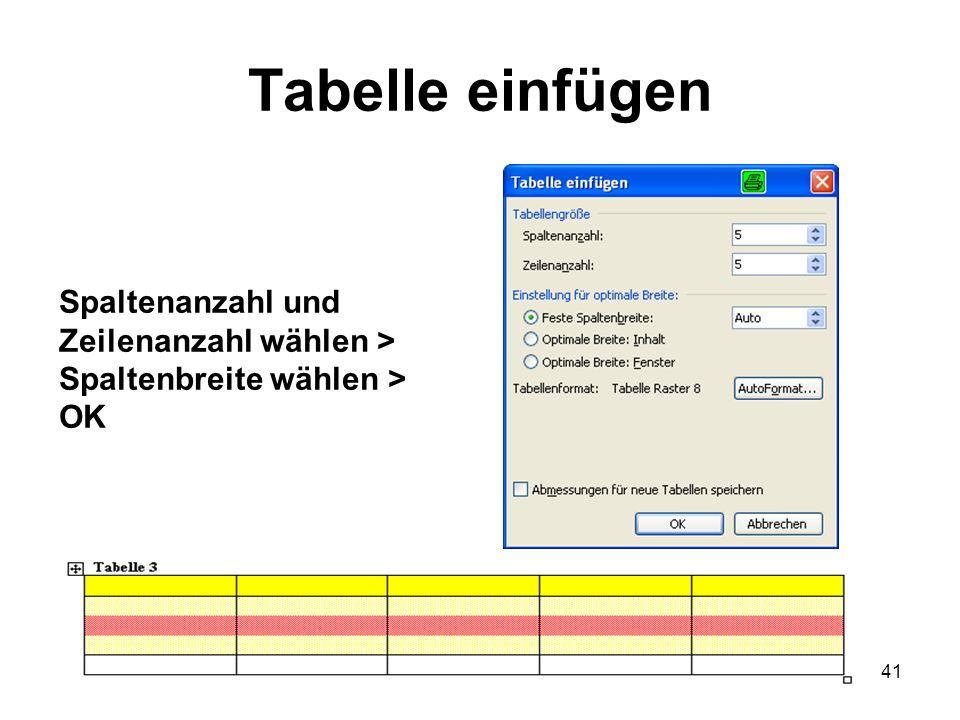 41 Tabelle einfügen Spaltenanzahl und Zeilenanzahl wählen > Spaltenbreite wählen > OK