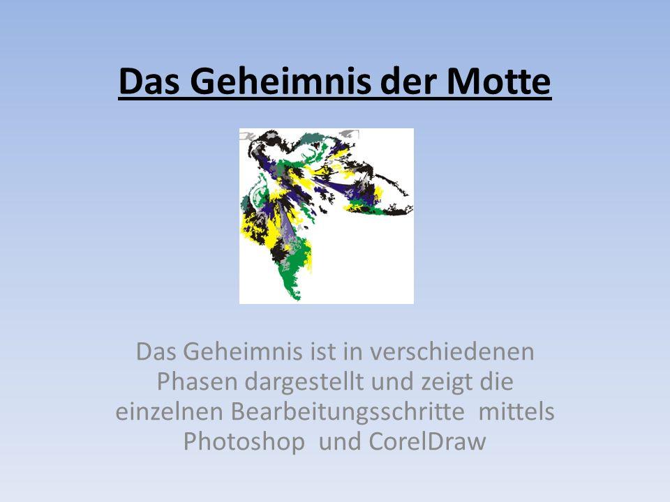 Das Geheimnis der Motte Das Geheimnis ist in verschiedenen Phasen dargestellt und zeigt die einzelnen Bearbeitungsschritte mittels Photoshop und Corel