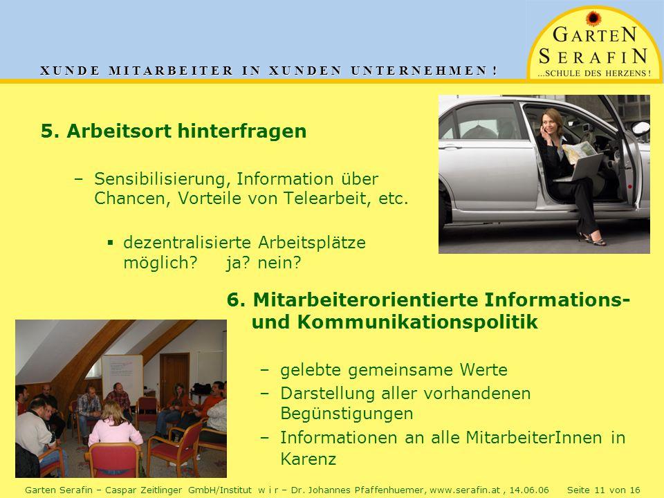 X U N D E M I T A R B E I T E R I N X U N D E N U N T E R N E H M E N ! Garten Serafin – Caspar Zeitlinger GmbH/Institut w i r – Dr. Johannes Pfaffenh