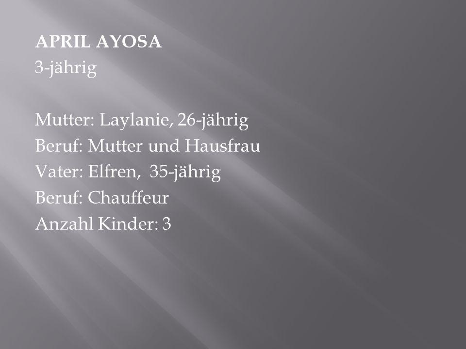 APRIL AYOSA 3-jährig Mutter: Laylanie, 26-jährig Beruf: Mutter und Hausfrau Vater: Elfren, 35-jährig Beruf: Chauffeur Anzahl Kinder: 3