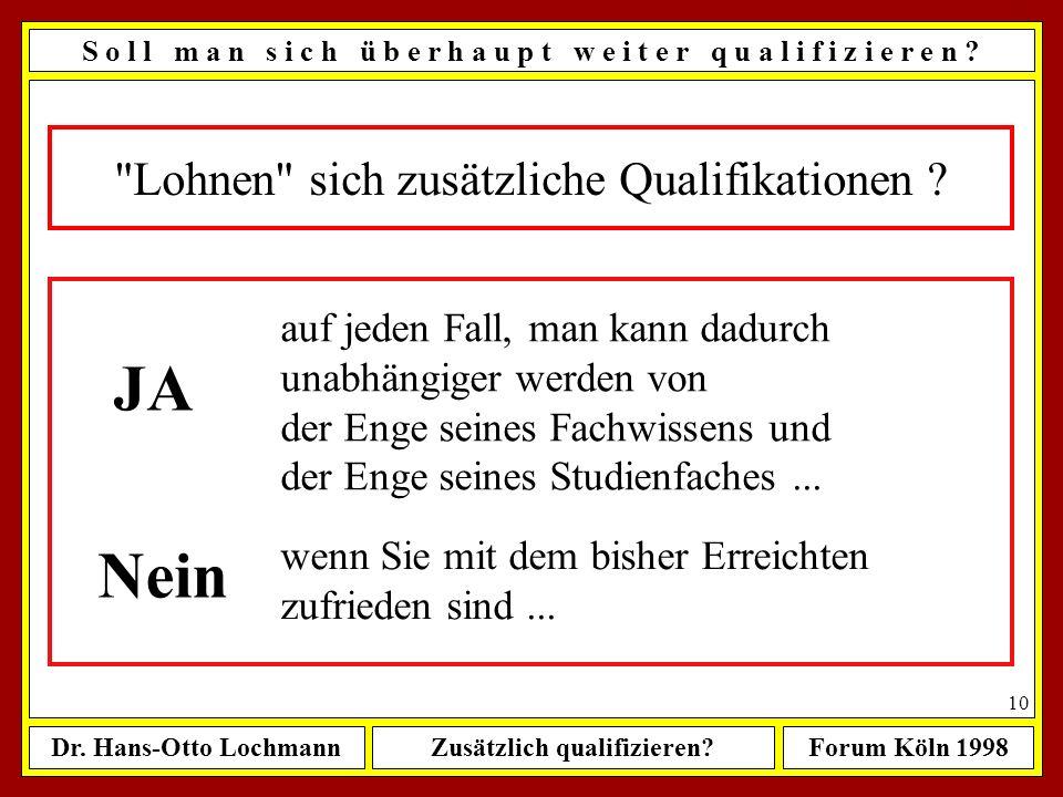 Dr. Hans-Otto LochmannZusätzlich qualifizieren?Forum Köln 1998 9 Sie sollten unbedingt bedenken... S o l l m a n s i c h ü b e r h a u p t w e i t e r