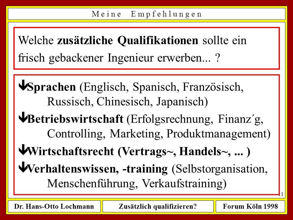 Dr. Hans-Otto LochmannZusätzlich qualifizieren?Forum Köln 1998 10