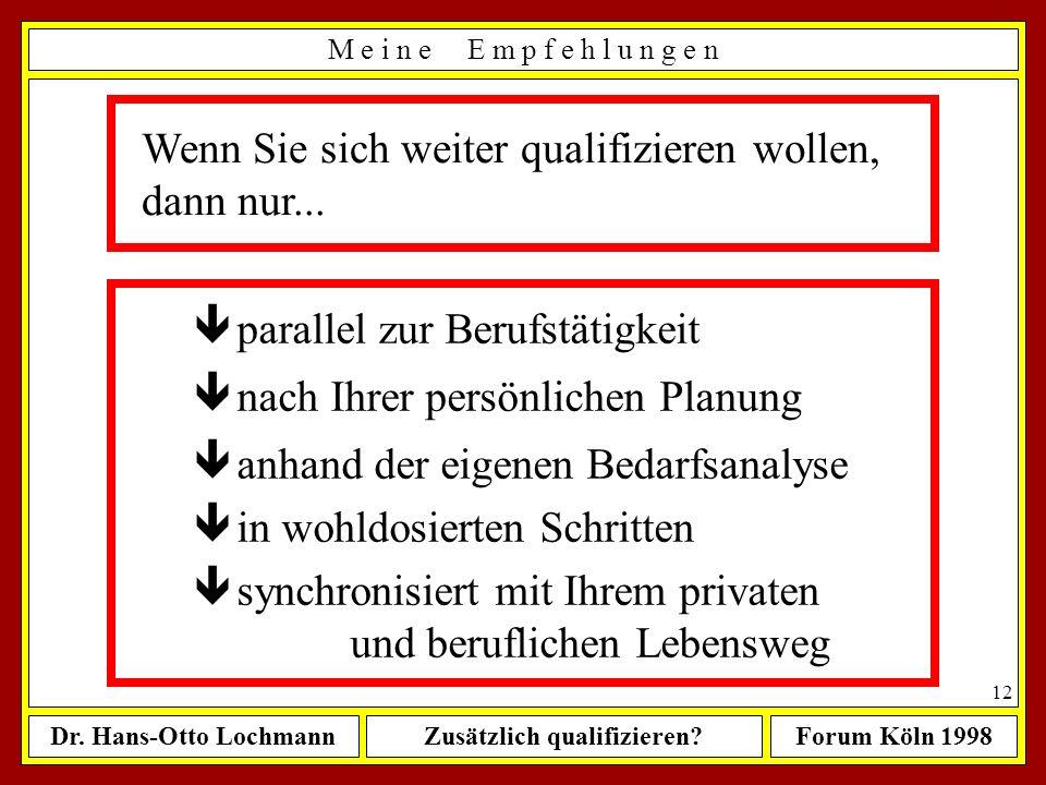 Dr. Hans-Otto LochmannZusätzlich qualifizieren?Forum Köln 1998 11 Welche zusätzliche Qualifikationen sollte ein frisch gebackener Ingenieur erwerben..