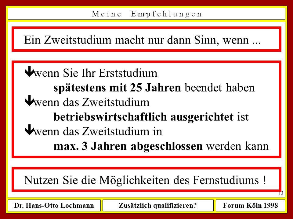 Dr. Hans-Otto LochmannZusätzlich qualifizieren?Forum Köln 1998 12 M e i n e E m p f e h l u n g e n Wenn Sie sich weiter qualifizieren wollen, dann nu