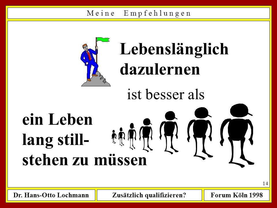 Dr. Hans-Otto LochmannZusätzlich qualifizieren?Forum Köln 1998 13 Ein Zweitstudium macht nur dann Sinn, wenn... ê wenn Sie Ihr Erststudium spätestens