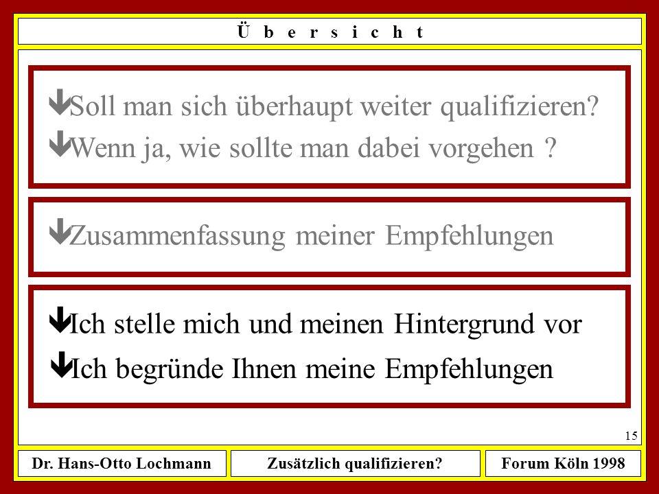 Dr. Hans-Otto LochmannZusätzlich qualifizieren?Forum Köln 1998 14 Lebenslänglich dazulernen ist besser als ein Leben lang still- stehen zu müssen M e