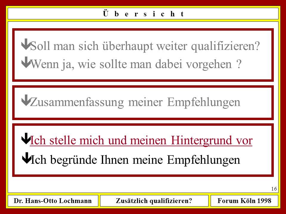 Dr. Hans-Otto LochmannZusätzlich qualifizieren?Forum Köln 1998 15 Ü b e r s i c h t ê Wenn ja, wie sollte man dabei vorgehen ? ê Zusammenfassung meine