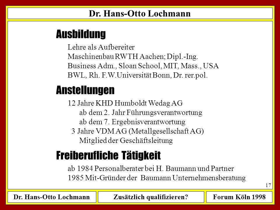 Dr. Hans-Otto LochmannZusätzlich qualifizieren?Forum Köln 1998 16 Ü b e r s i c h t ê Wenn ja, wie sollte man dabei vorgehen ? ê Zusammenfassung meine