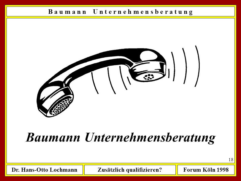 Dr. Hans-Otto LochmannZusätzlich qualifizieren?Forum Köln 1998 17 Ausbildung Lehre als Aufbereiter Maschinenbau RWTH Aachen; Dipl.-Ing. Business Adm.,
