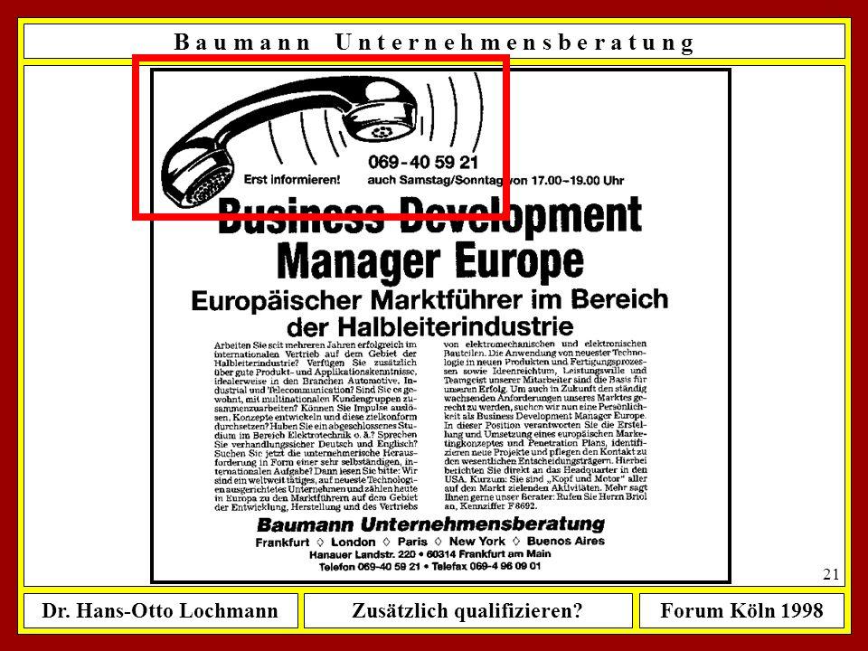 Dr. Hans-Otto LochmannZusätzlich qualifizieren?Forum Köln 1998 20 B a u m a n n U n t e r n e h m e n s b e r a t u n g