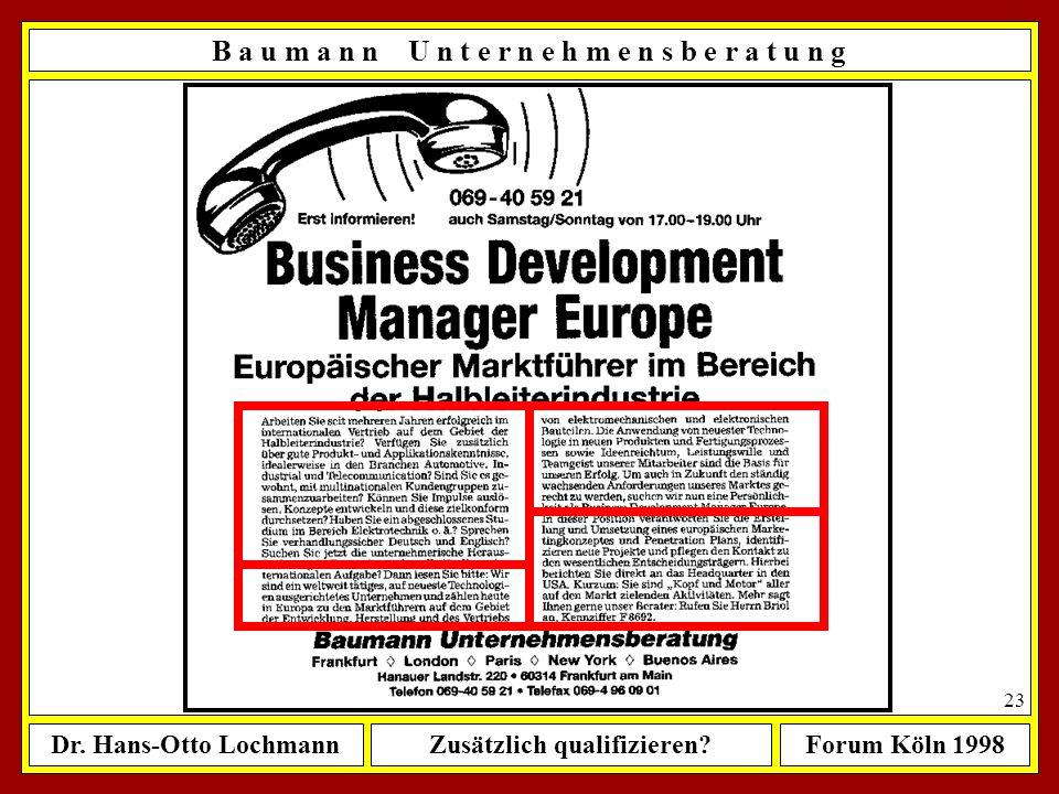 Dr. Hans-Otto LochmannZusätzlich qualifizieren?Forum Köln 1998 22 B a u m a n n U n t e r n e h m e n s b e r a t u n g