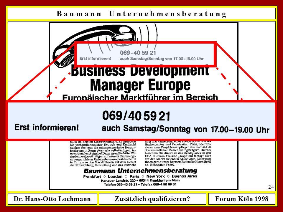 Dr. Hans-Otto LochmannZusätzlich qualifizieren?Forum Köln 1998 23 B a u m a n n U n t e r n e h m e n s b e r a t u n g