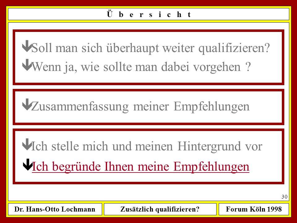 Dr. Hans-Otto LochmannZusätzlich qualifizieren?Forum Köln 1998 29 Ü b e r s i c h t ê Wenn ja, wie sollte man dabei vorgehen ? ê Zusammenfassung meine