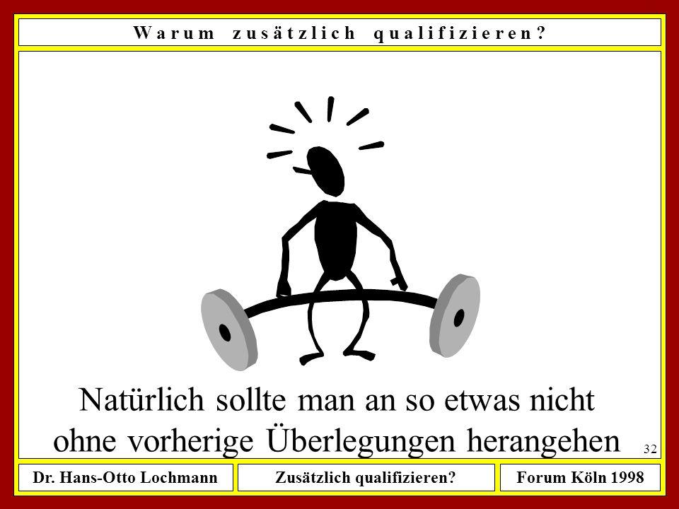 Dr. Hans-Otto LochmannZusätzlich qualifizieren?Forum Köln 1998 31 Mein heutiges Ist: Faktenwissen Verfahrenswissen