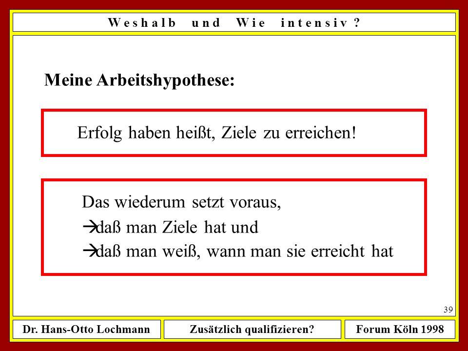 Dr. Hans-Otto LochmannZusätzlich qualifizieren?Forum Köln 1998 38 Erfolg ist.... ? ? ? ? 6,5 Mrd. Menschen haben 6,5 Mrd. Definitionen, was für jeden