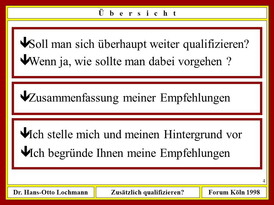 Dr. Hans-Otto LochmannZusätzlich qualifizieren?Forum Köln 1998 3 Ü b e r s i c h t ê Soll man sich überhaupt weiter qualifizieren? ê Wenn ja, wie soll