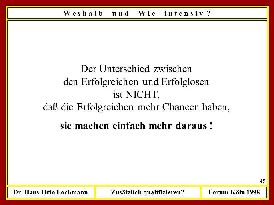 Dr. Hans-Otto LochmannZusätzlich qualifizieren?Forum Köln 1998 44 Erfolgreich sein heißt, einmal mehr aufstehen als als man hingefallen ist. Nach Oliv