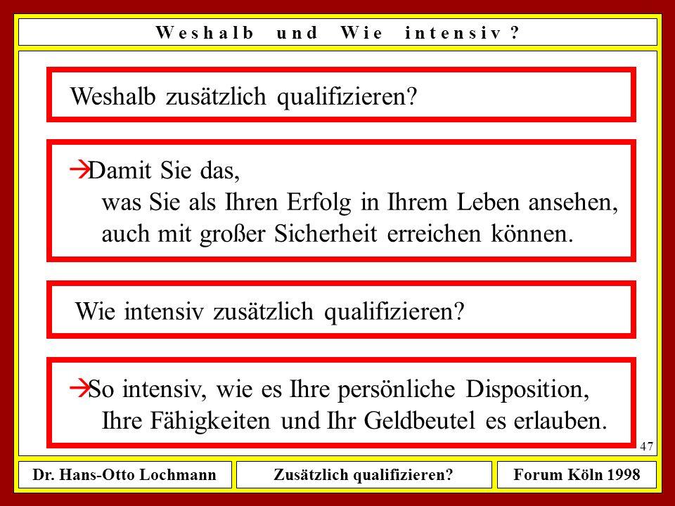 Dr. Hans-Otto LochmannZusätzlich qualifizieren?Forum Köln 1998 46 Control Your Destiny or Somebody Else Will ! (Jack Welsh) W e s h a l b u n d W i e