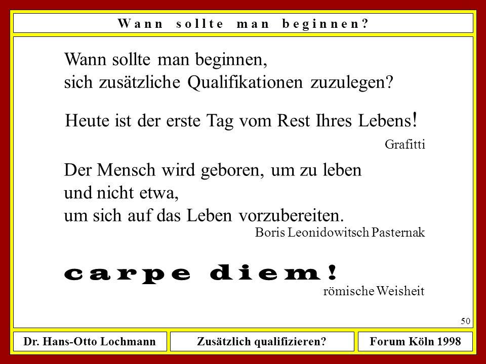 Dr. Hans-Otto LochmannZusätzlich qualifizieren?Forum Köln 1998 49 Mein heutiges Ist Mein zukünftiges Soll Weshalb? Wann? Was? Wie intensiv? W a r u m